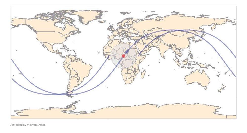 Image Timestamp:2016-04-26 06:22:48 UTC ISS Nadir position:9.95°N, 15.88°E (Chad) Image Geolocation:13.41°N, 14.74°E (Chad)