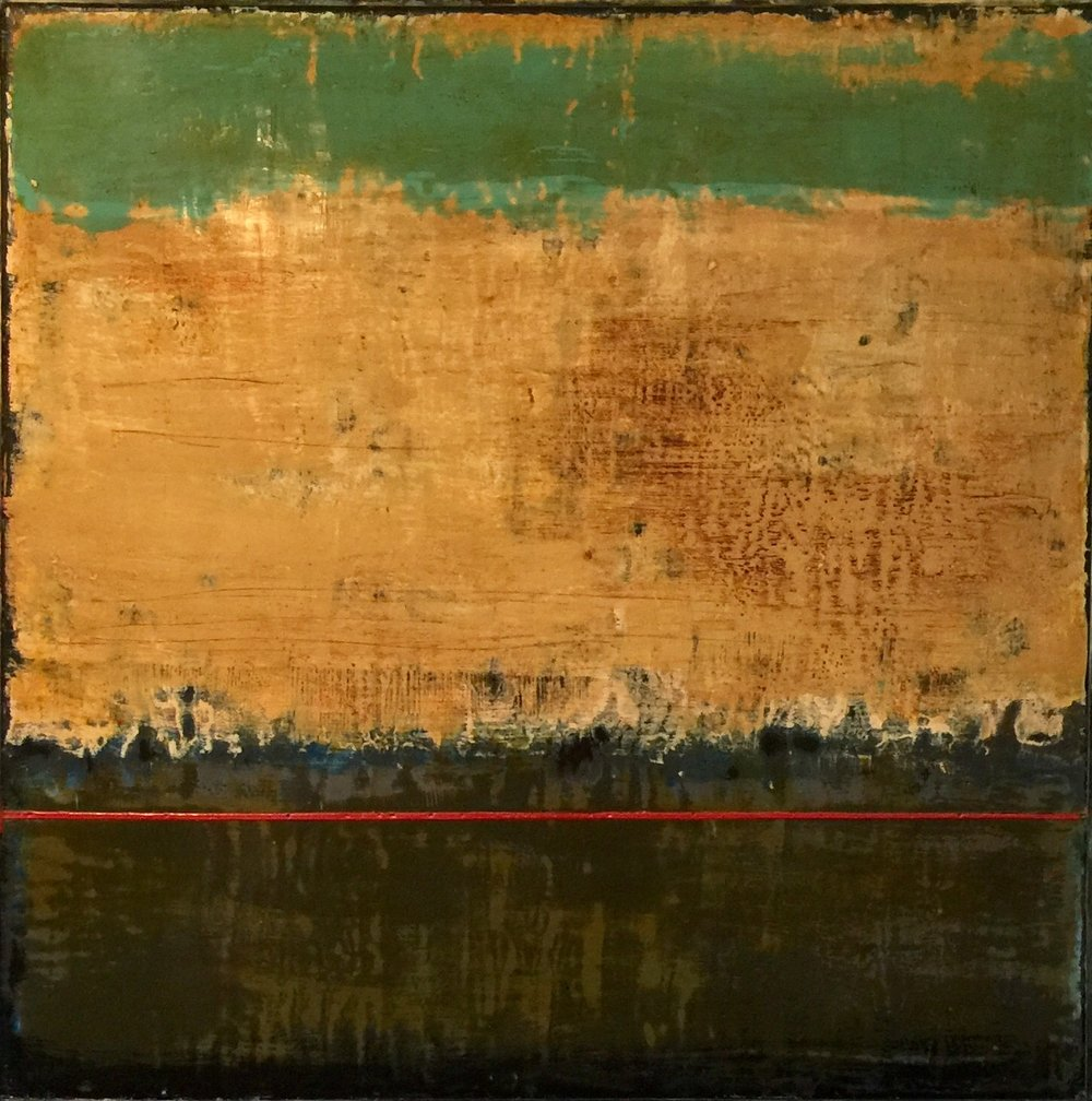 30x30 encaustic on birch panel with a maple frame.
