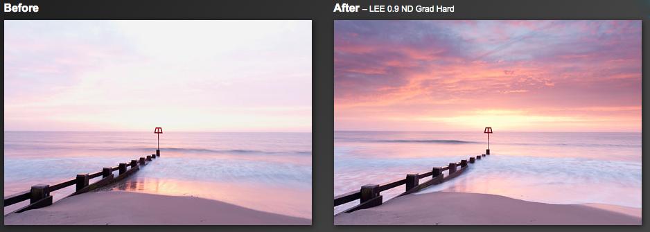 Bilden till vänster utan filter. Den till höger använder ett graduerat ND (grå) filter.