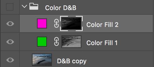 De två lagren med kompletterande färger.
