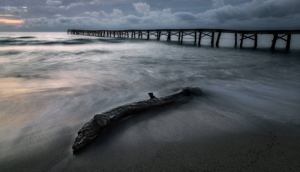 1. First Light -On this particular morning, while walking down the beach on the way to the pier I found this characteristic log that during the night had been washed up by the sea. It was a somewhat obvious and a bit of a classical composition I thought.