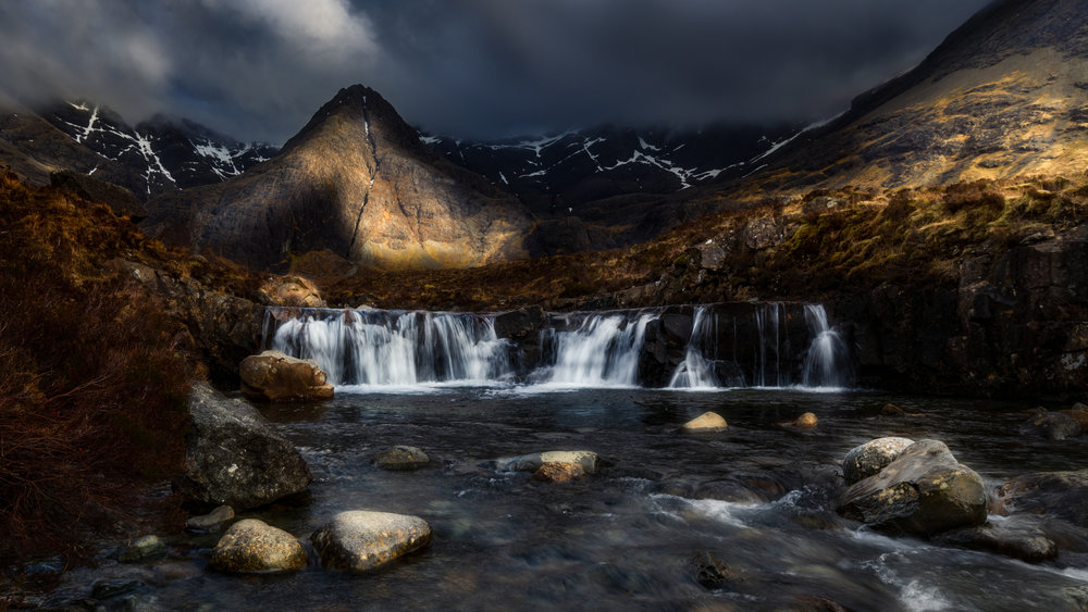 2. The Fairy Pools at Isle of Sky caught in the last light of the day.