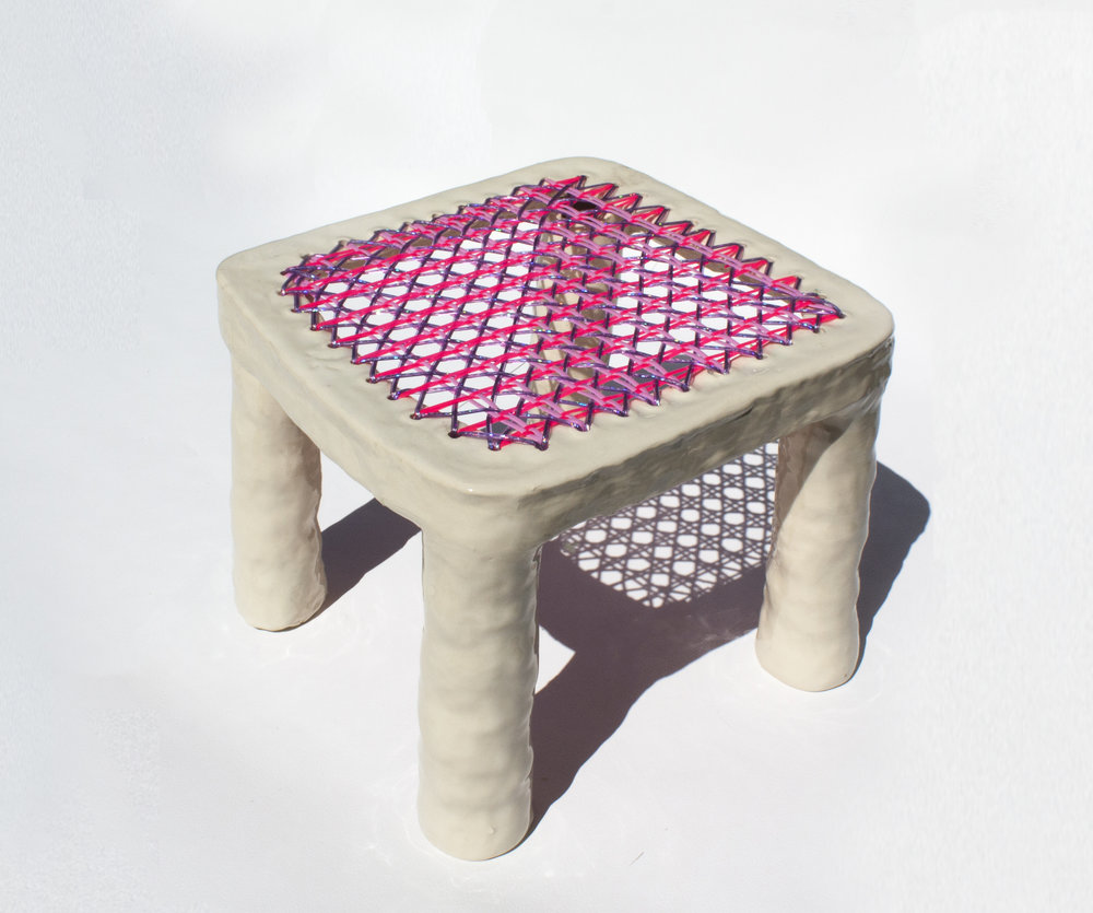"Stool 1 (Lisa Frank), Ceramic sculpture, plastic lacing cord, 10"" x 10"" x 10"", 2018"