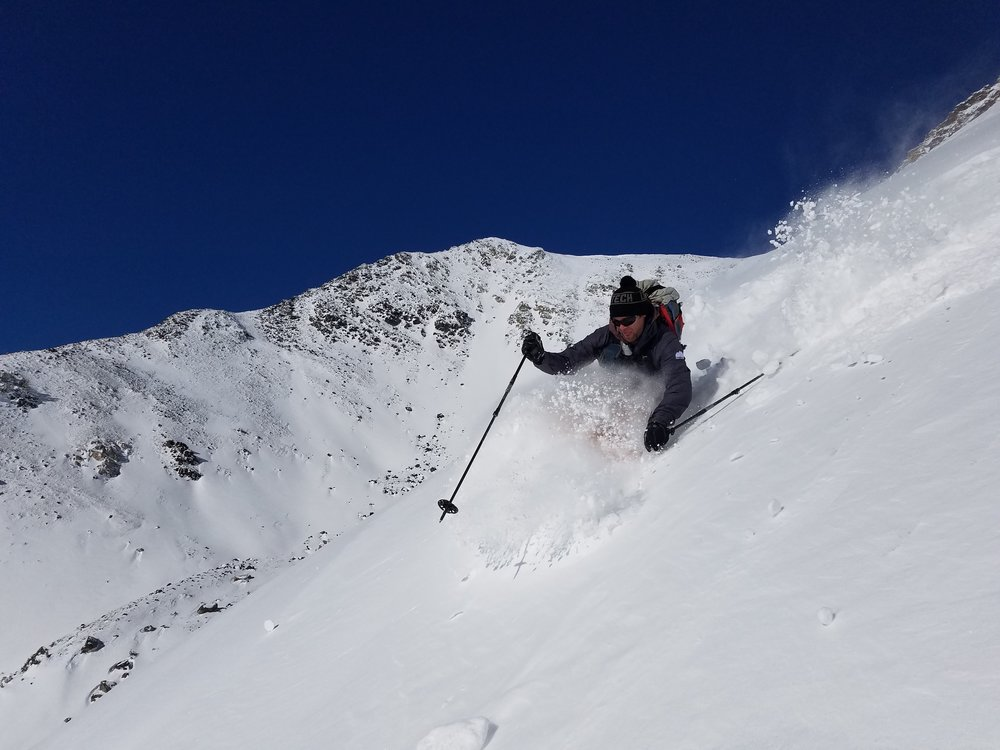 BSBG owner and chief product tester, Drew Pogge, harvests the first powder of the 2018/19 season on October 12th—BOOM!