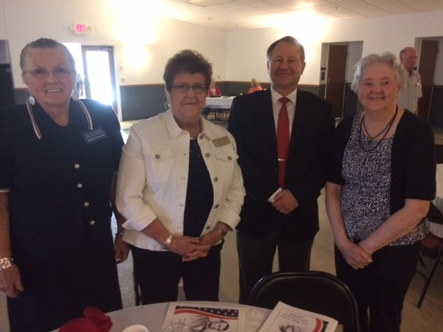 Mark and Jeff ate with three ladies from the Republican Women's Group.  Jeff is pictured with Dorothy Green on the right, Marilyn Gausman on the left, and Mary ann McCoy in the middle.