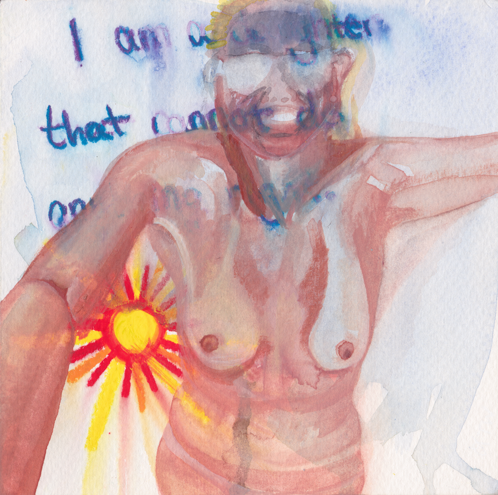 A Daughter That Cannot Do Anything Right   Japanese Watercolor and Oil Pastel on Paper  July 2015  6 inches by 6 inches