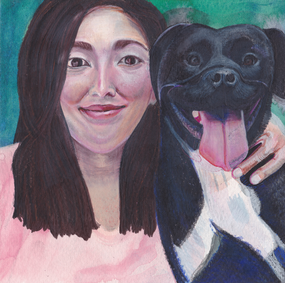 Untitled (Emily and Luna)  Japanese Watercolor and Prismacolor on Paper  August 2015  6 inches by 6 inches