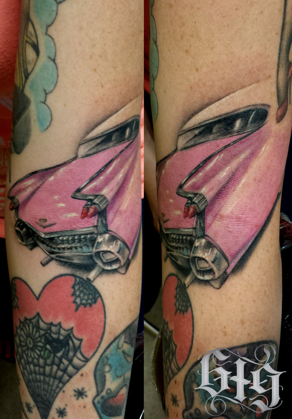 Realistic Pink Cadillac Color. Forearm Sleeve tattoo.