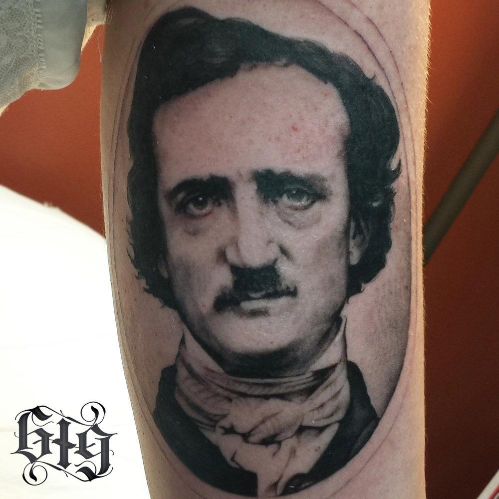Fine detail black and gray portrait of Edgar Allen Poe. Part of a Edgar Allen Poe themed full arm sleeve tattoo.