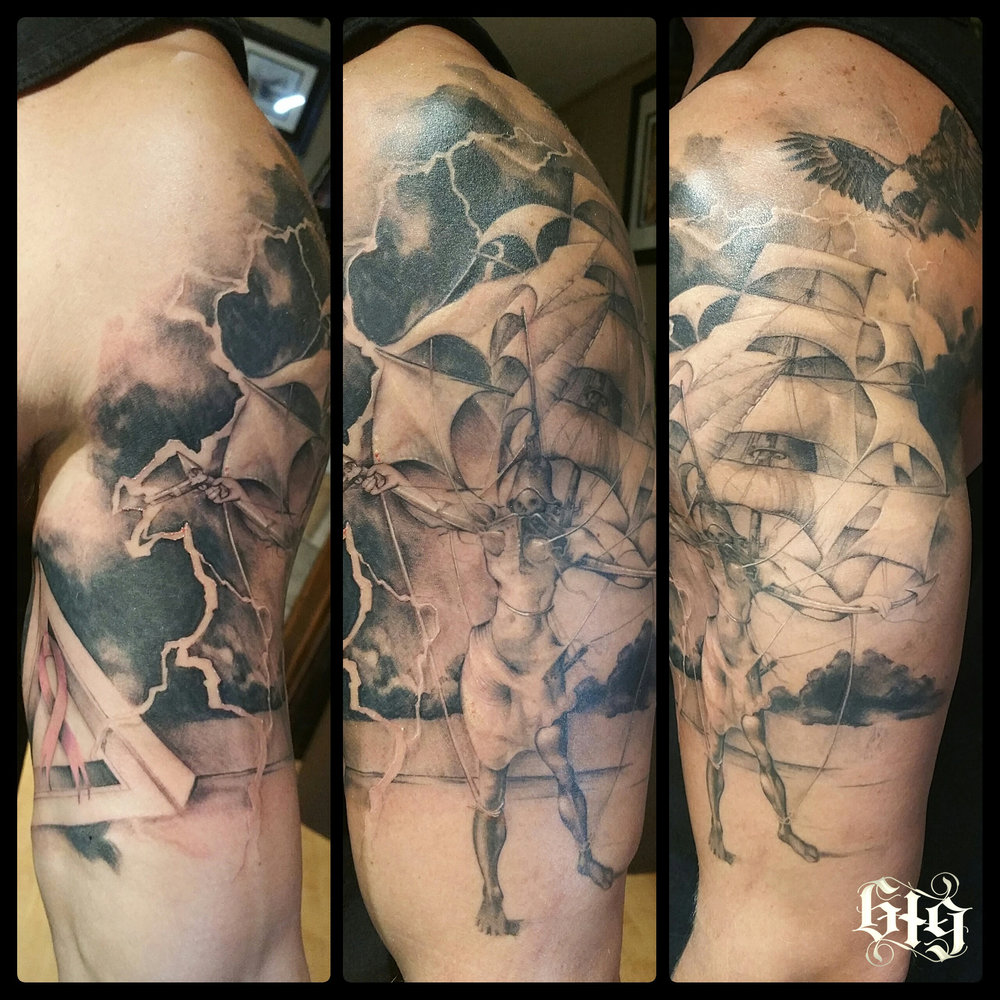 "Black and gray fine detail Salvador Dali ""the Ship"" in a lightning storm. Upper arm Bicep half sleeve tattoo."