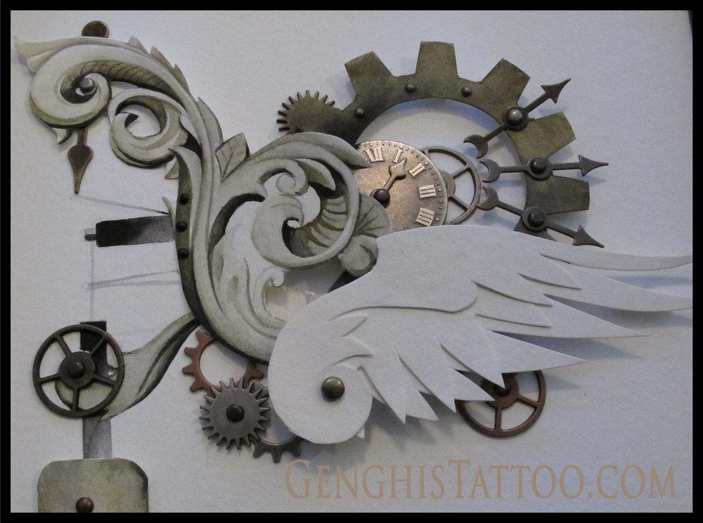 Fine detail animatronic steampunk machine swan.Original Artwork