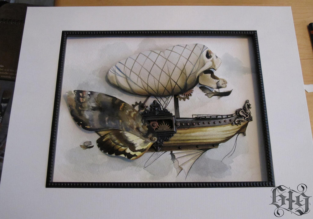 Steampunk Moth Armada in fine detail and watercolor. Original Artwork