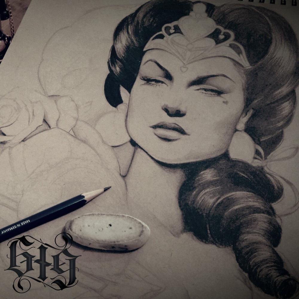 Queen of hearts. Fine detail pencil original work or art.