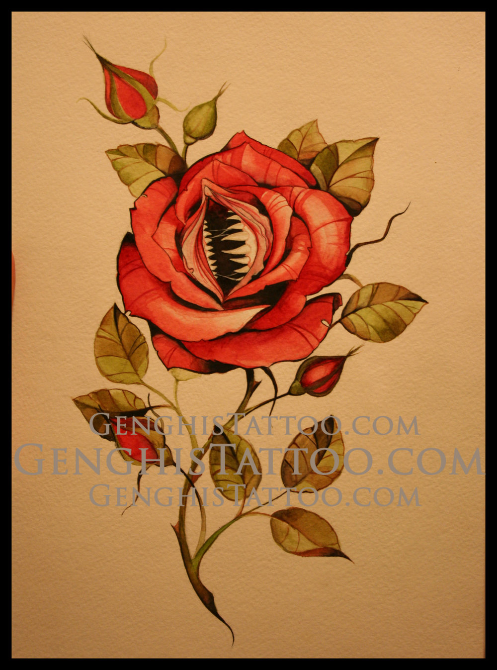 Vagina Rose with teeth. Fine detail watercolor original artwork.