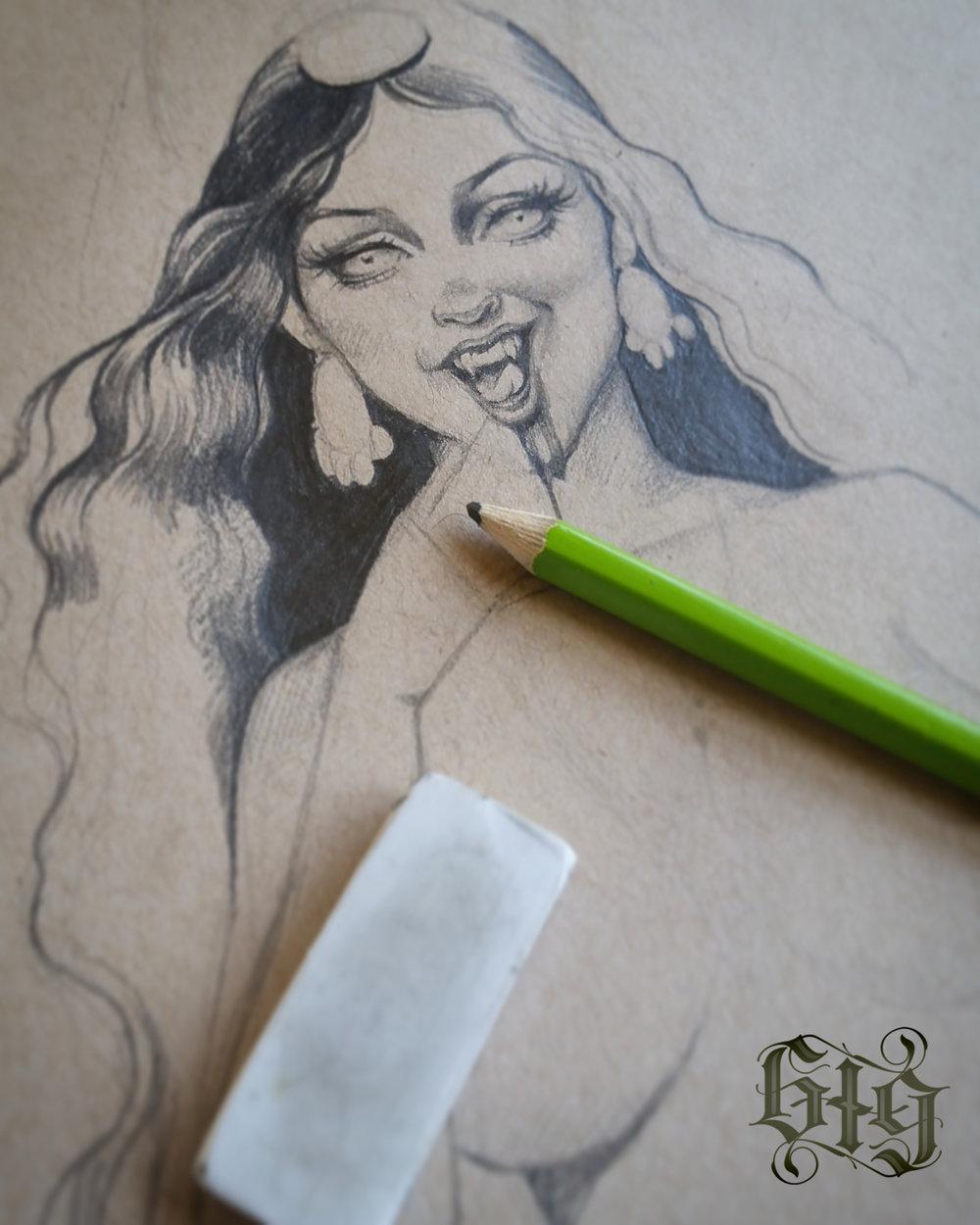 Vampires in fine detail pencil. Original artwork