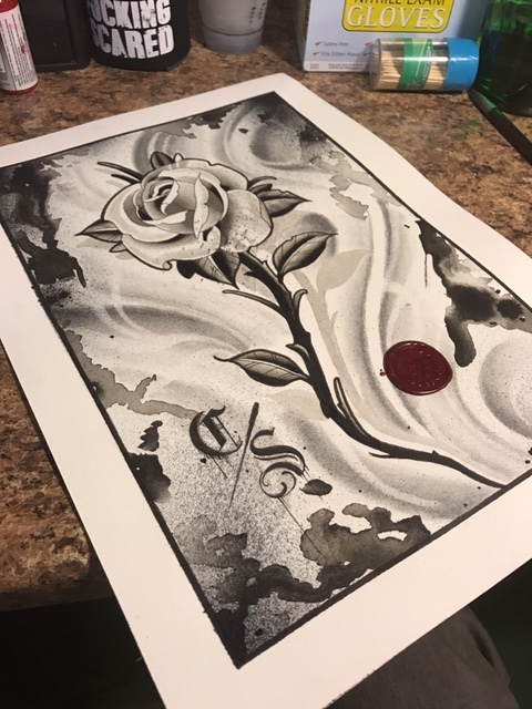 Original artowrk Black and white rose on paper with wax seal