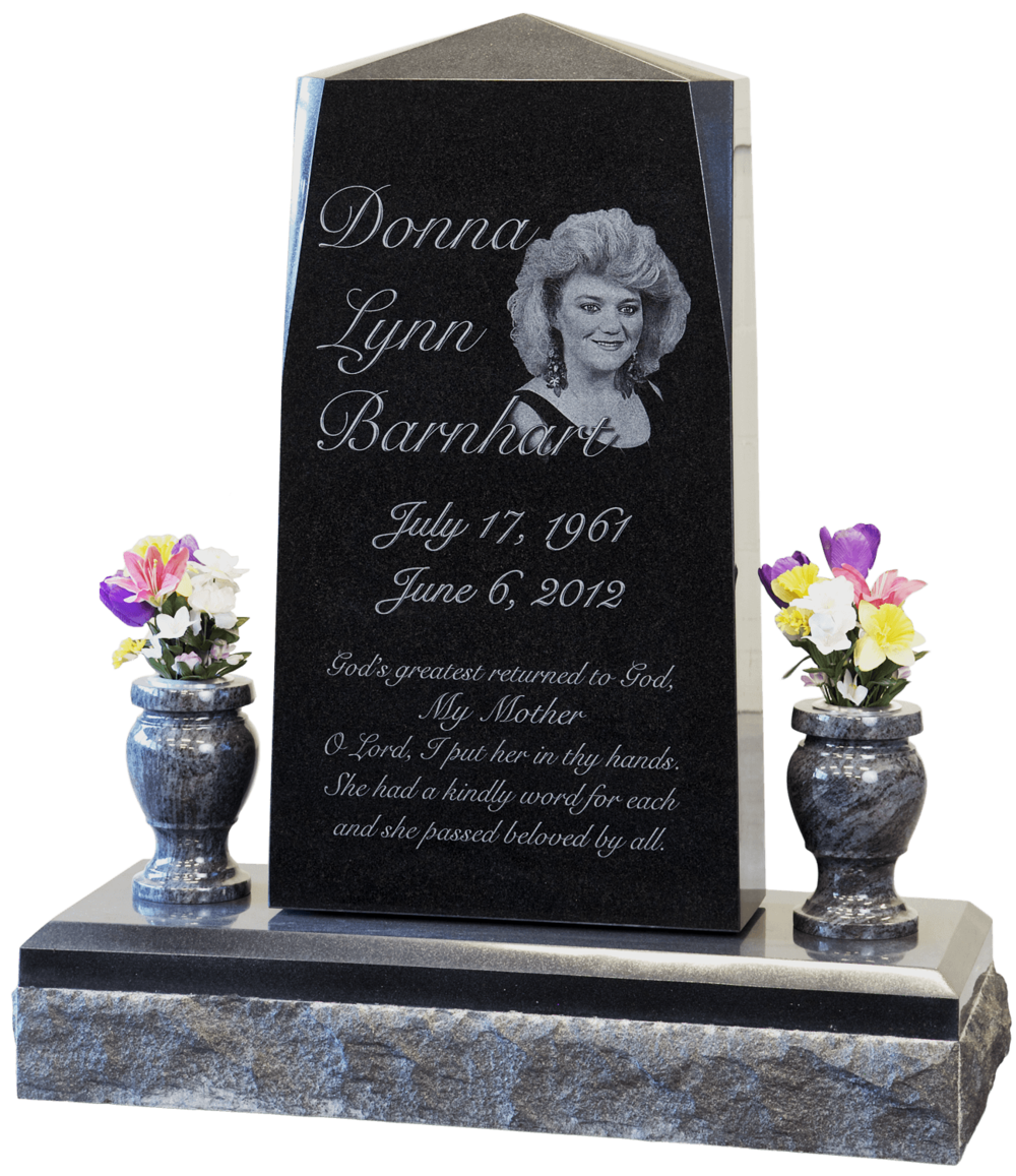 headstone - etched black granite