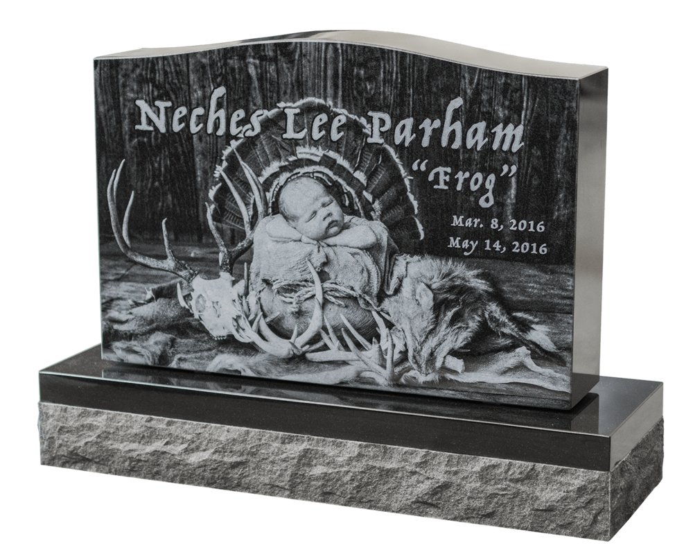 laser etched memorial headstone