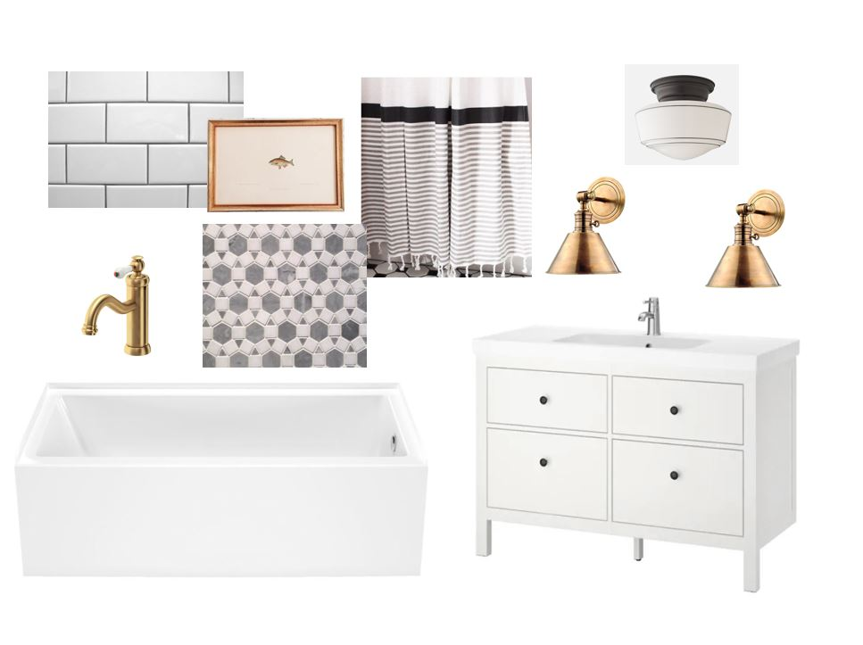 tub  /  faucet  /  vanity  /  mosaic  /  sconces  /  ceiling light (similar)  /  shower curtain (similar)