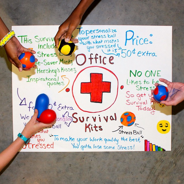 Office Survival - selling kits that include a stress ball, mint, and motivational quote