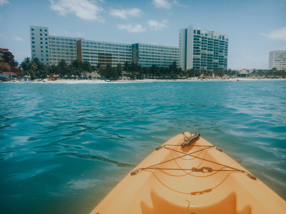 View of our hotel from a kayak -  through a water proof iPhone case.