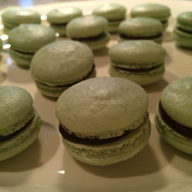 Dark Chocolate Mint Macarons