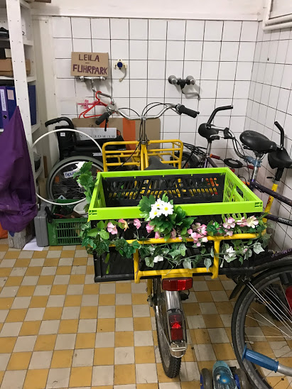 Part of the library of things! How cute is this bike with flowers?!!