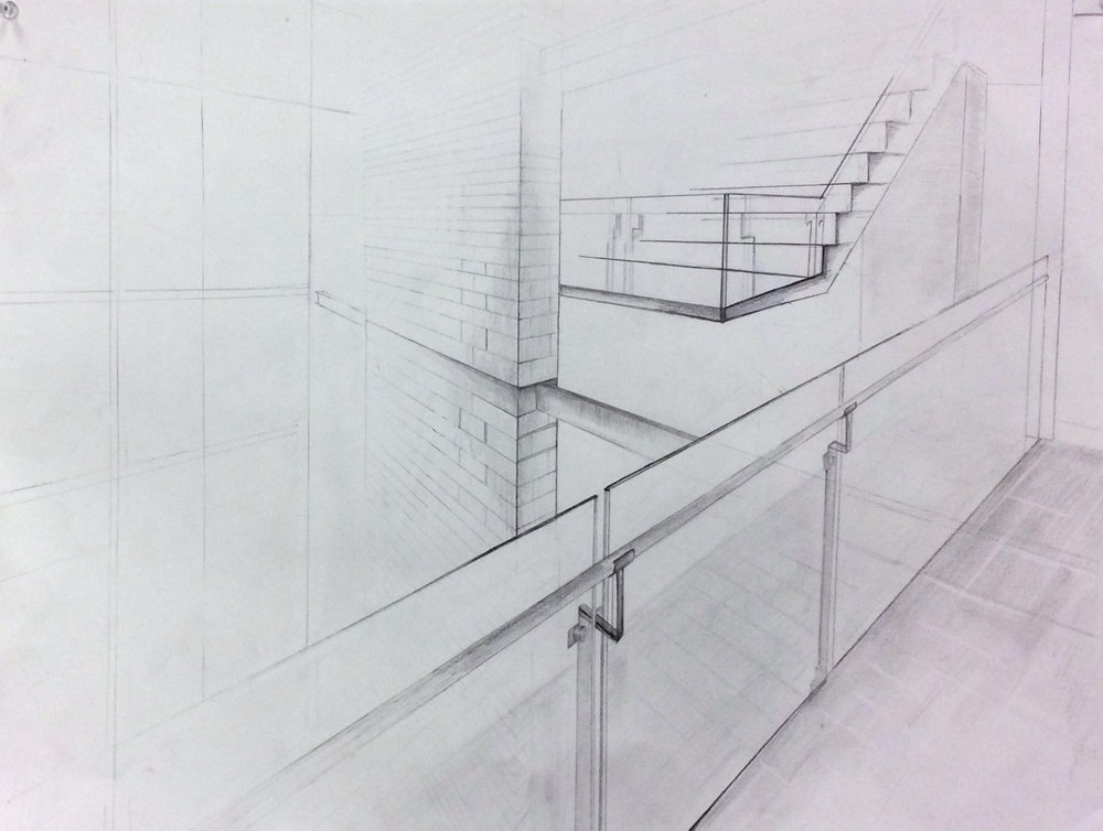 "Drawing I , Autumn 2015, line quality, graphite on paper, 18"" x 24"""