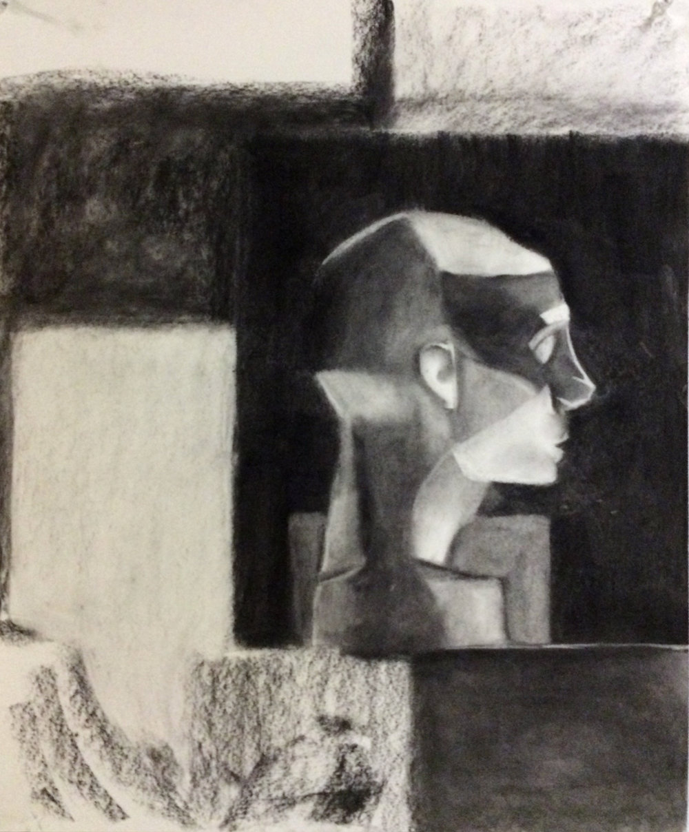 "Drawing I , Spring 2015, positive and negative shapes, charcoal on paper, 24"" x 18"""