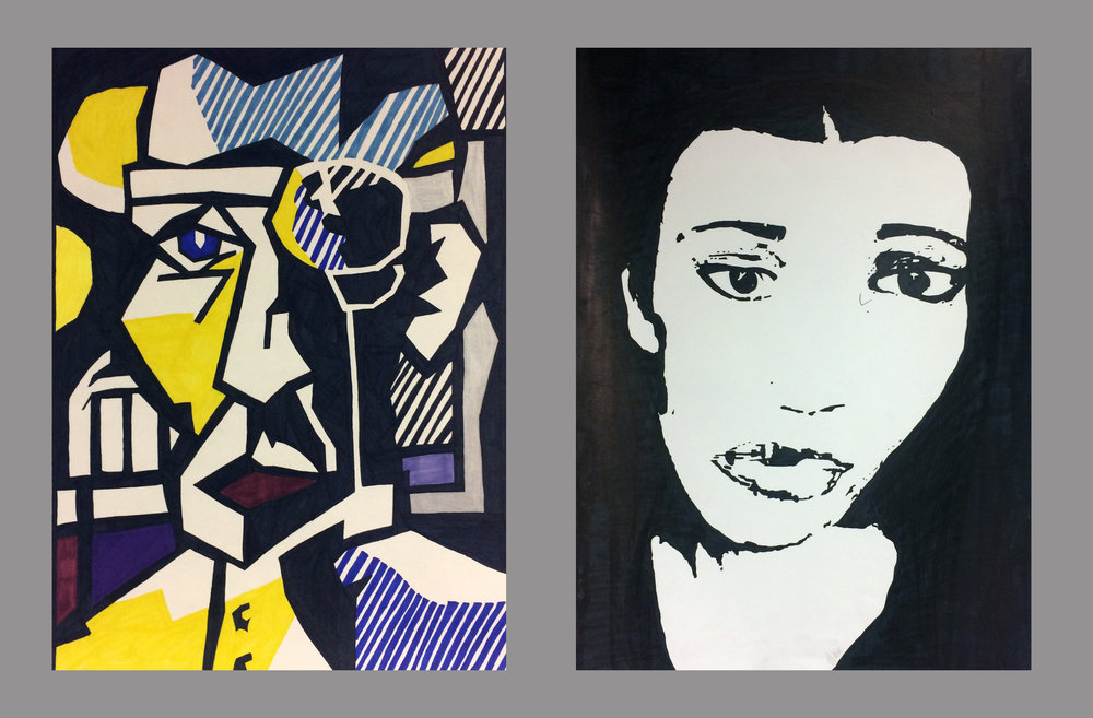 "Drawing I , Fall 2016 Final Project (diptych, master copy and self portrait in similar style, after  Dr. Walkdman ), sharpie on paper, two panels each 24"" x 18"""
