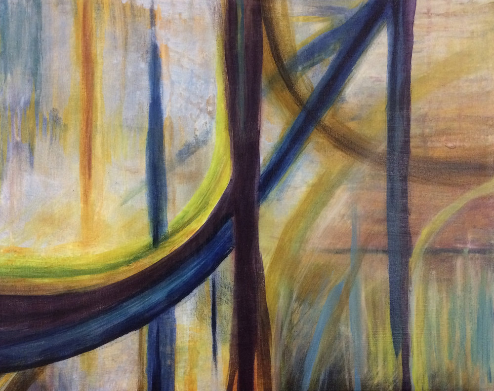 "Lyrical Abstraction Painting Class , Winter 2017, lyrical abstraction, oil on canvas, 24"" x 36"""