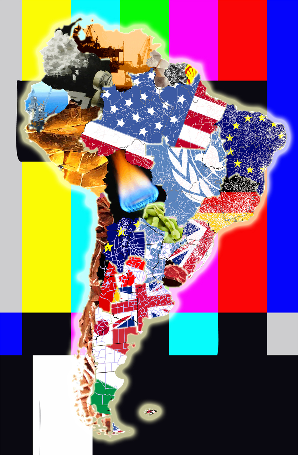 America (Mercator Projection), 2017, digital collage, size variable