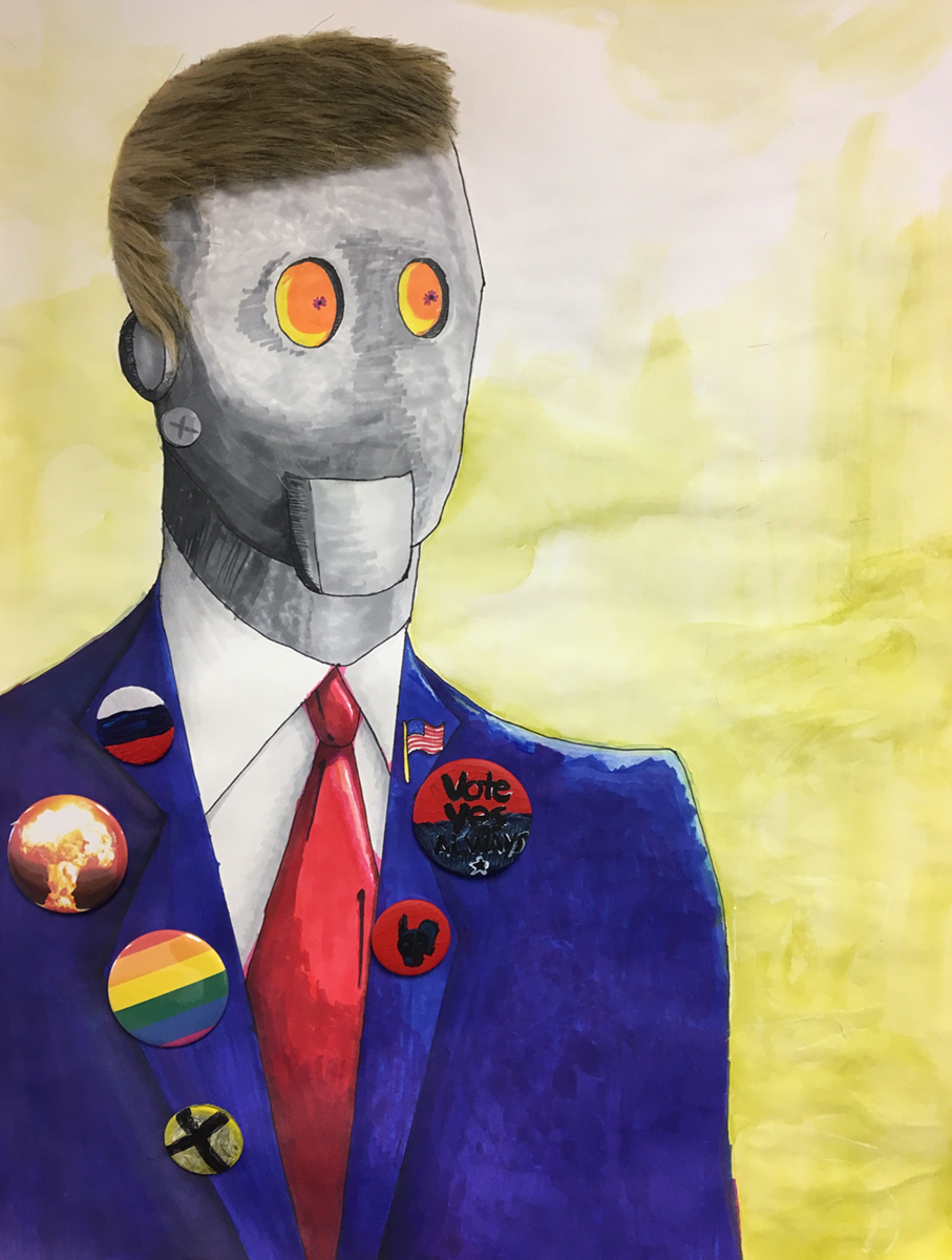 """Drawing III , Spring 2018, Assignment: What Is Power?, """"Political Robot,""""collage, marker, mixed media. 24"""" x 18"""""""