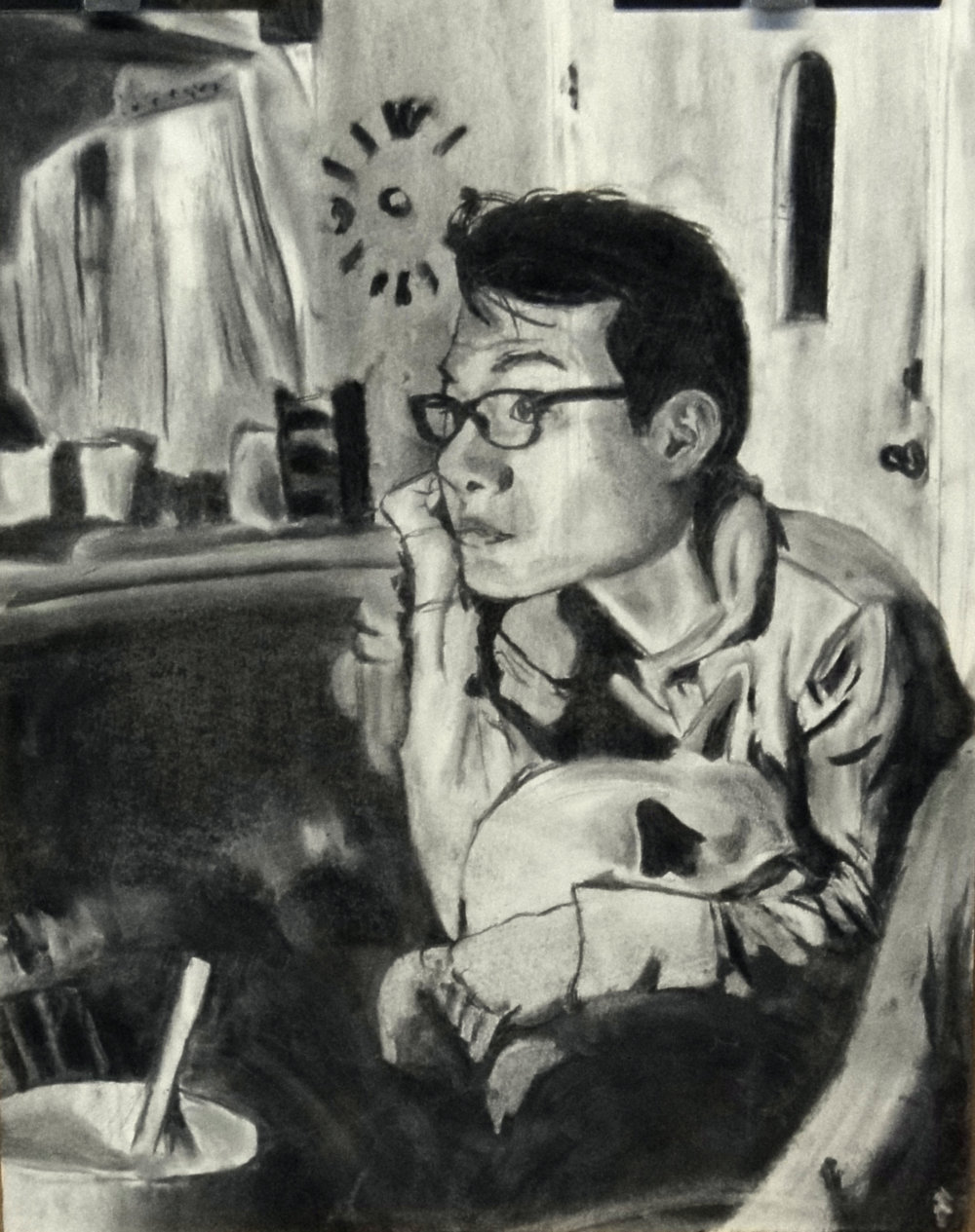 "Drawing I , Spring 2015 Final Project (create a self-portrait in the atmospheric space of your favorite novel, movie, or song), charcoal on paper, 24"" x 18"""