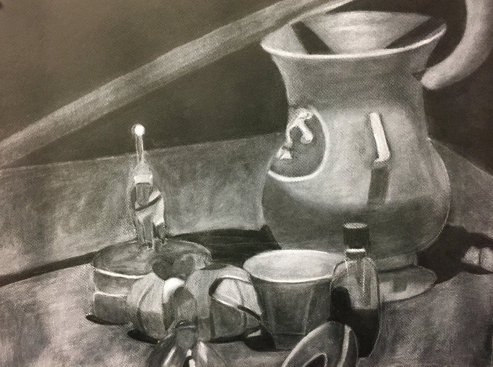 "Drawing I , Fall 2017, Still Life, white conté on gray paper, 18"" x 24"""
