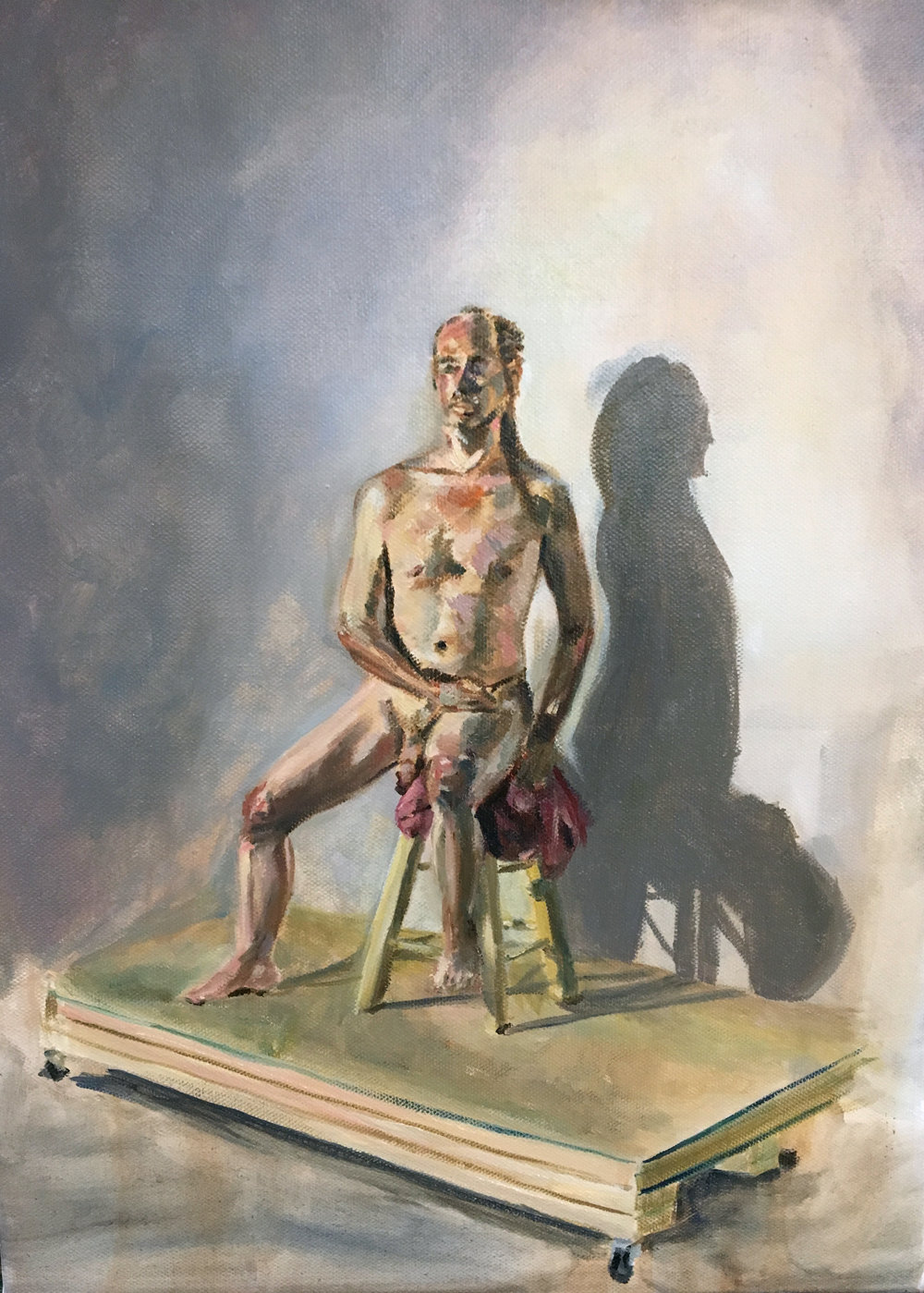 "Figure Painting,  Summer 2018, oil on canvas, 20"" x 16"""