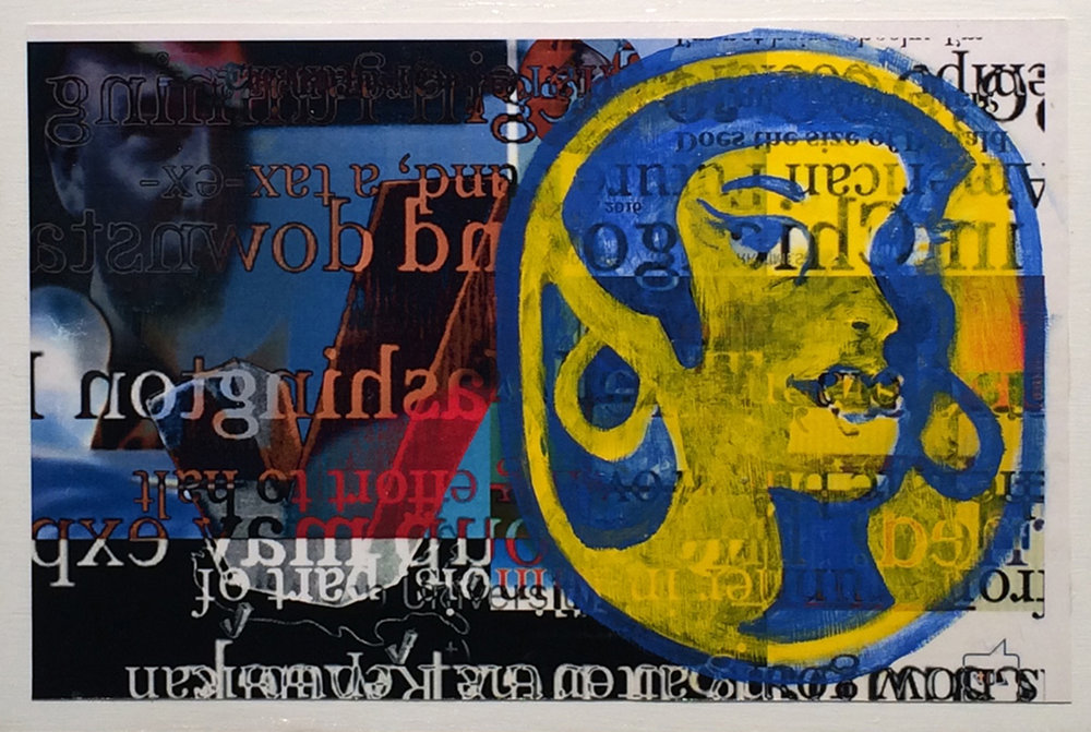 """Banana Republic  , 2016, digital collage laserjet print with water miscible oil on panel, 11""""x17"""""""