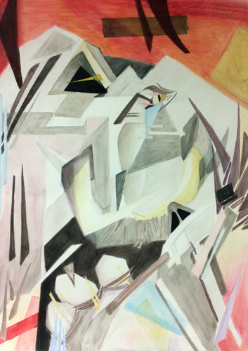 "Drawing III , Spring 2017, Cubist still-life, colored pencil and pastel on paper, 30"" x 22"""
