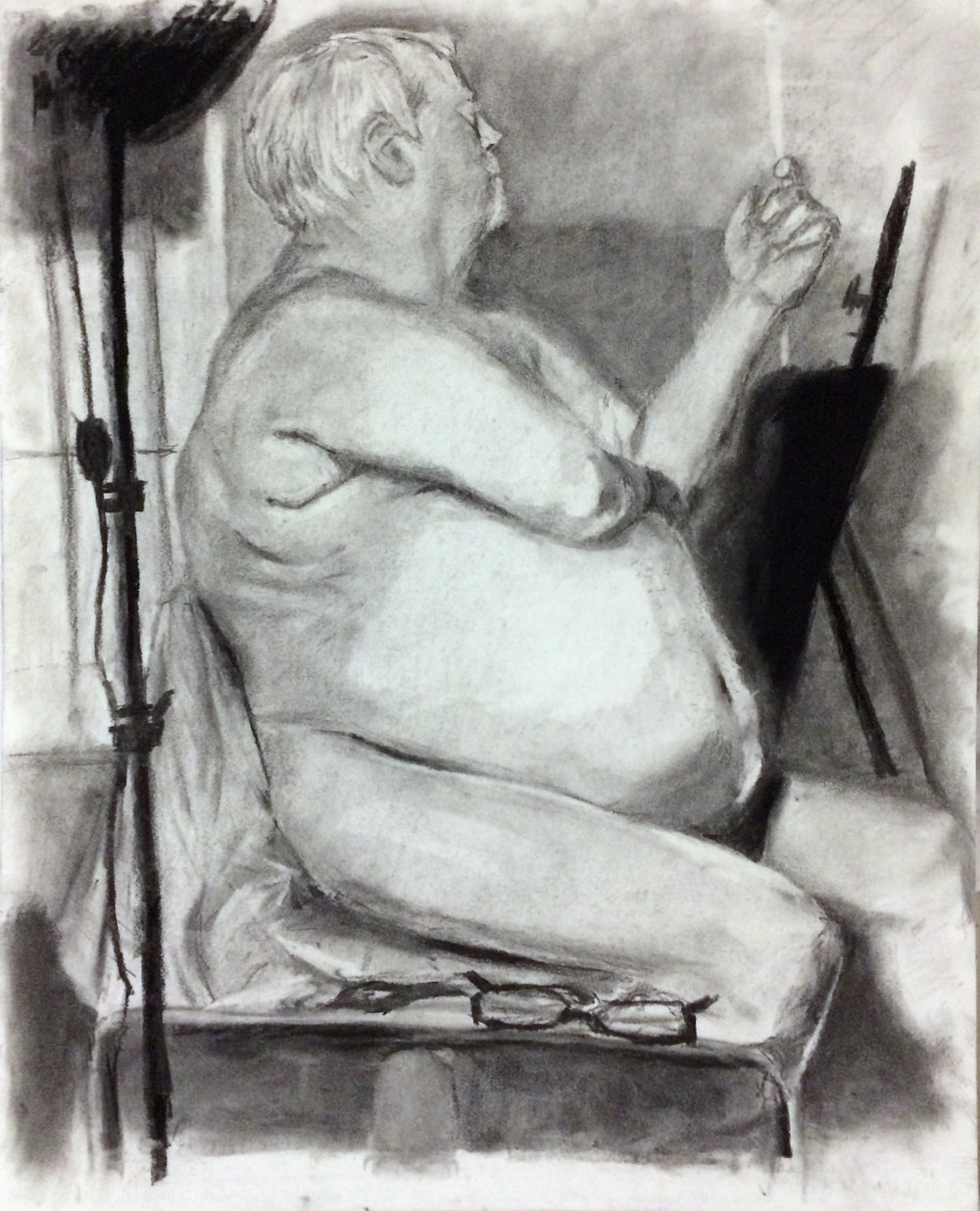 """Drawing I , Winter 2016 figure drawing, charcoal on paper, 24"""" x 18"""""""