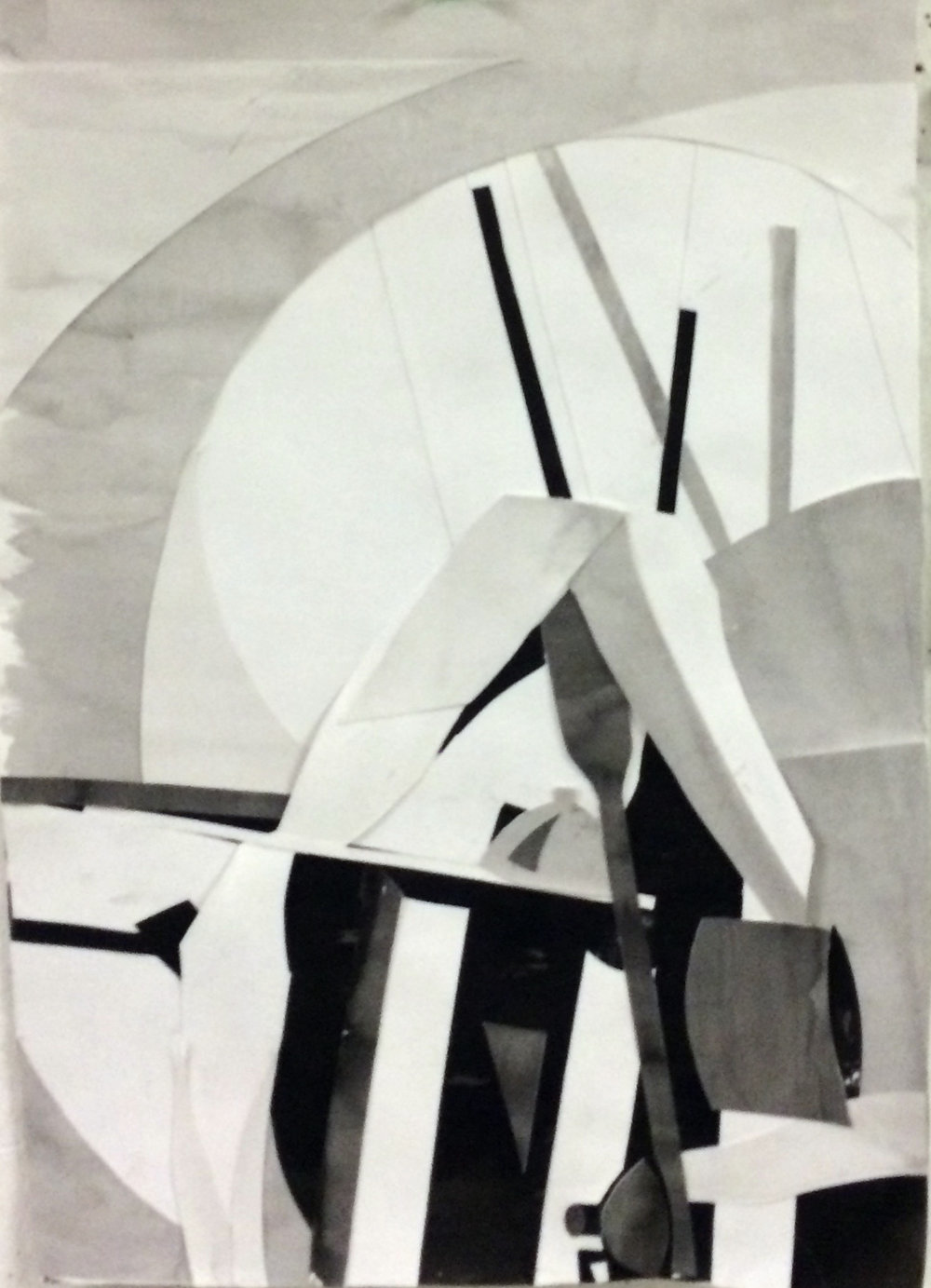"""Drawing I , Autumn 2015, positive and negative shapes, collage on paper, 24"""" x 18"""""""