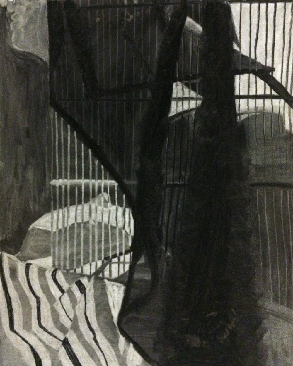 "Drawing I , Autumn 2015, fabric study, charcoal on paper, 24"" x 18"""