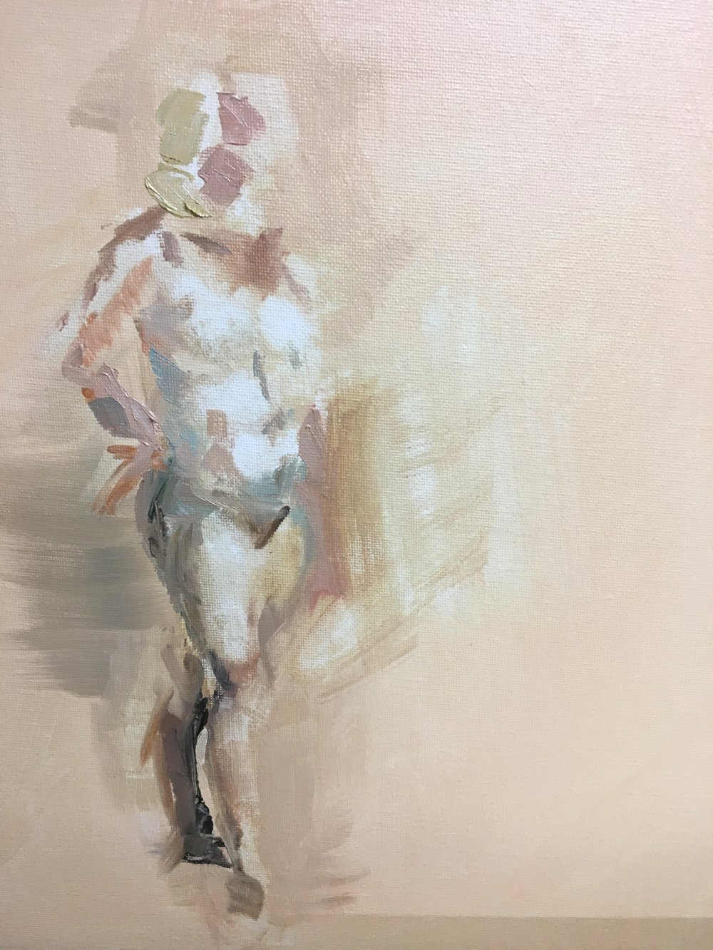 "Figure Painting,  Summer 2018, gesture, water mixable oil on canvas, 8"" x 8"""