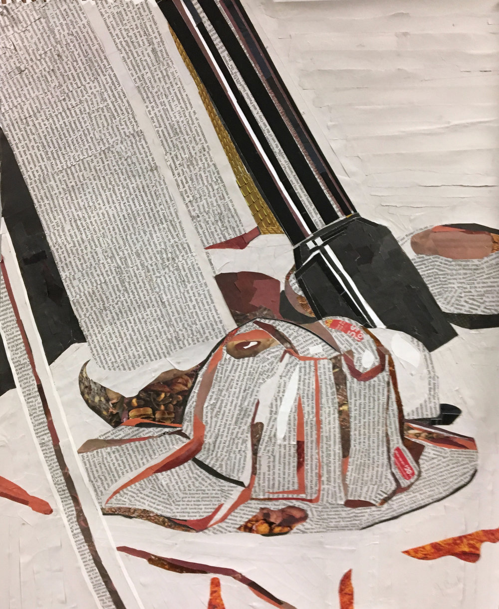 "Drawing I , Fall 2018, newspaper collage on paper, 24"" x 18"""