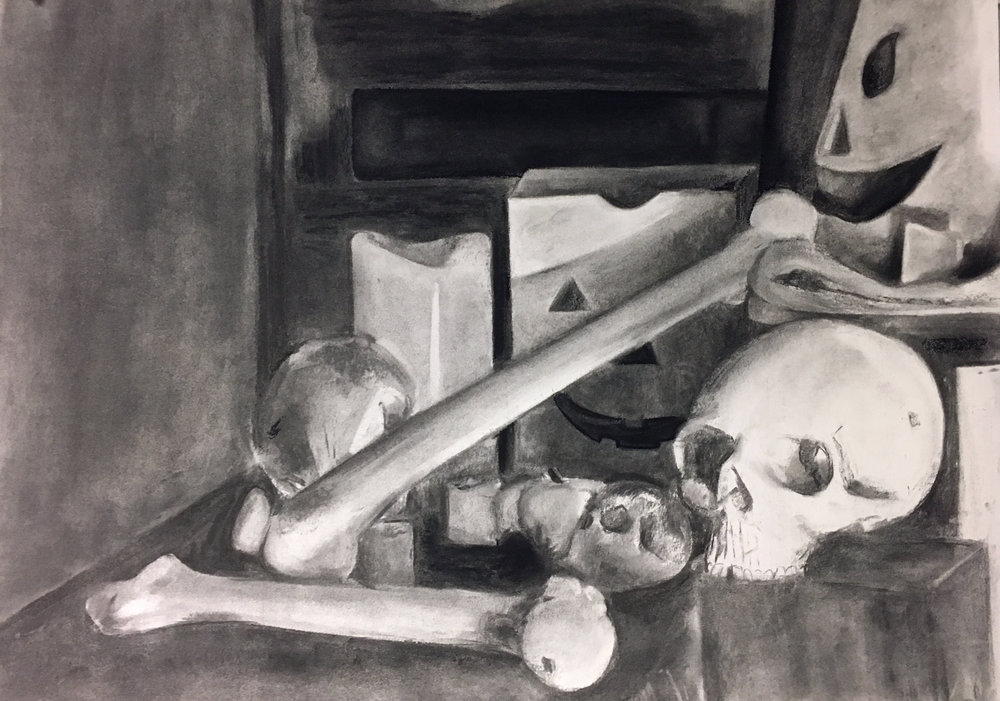 "Drawing I , Spring 2018, Still Life, charcoal on paper, 18"" x 24"""
