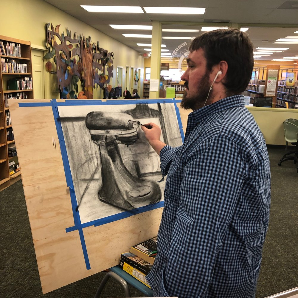 drawing demo at the Ferguson Library, November 2018