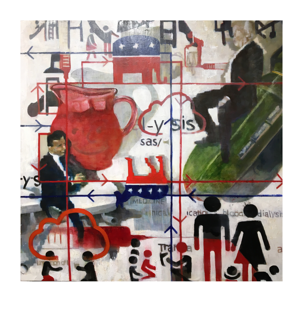 """dialysis . the blood of the body politic is washed with sugar and injected into the social consciousness. Rhetoric filters political strategy and spreads a psychological contagion that codifies cultural experience into digestible propaganda.   """"dialysis,"""" 2018, oil emulsion and pigment on panel, 48"""" x 48"""""""