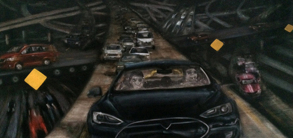 "The Industrial Complex (part 2)  , 2016, water mixable oil paint and gouache on canvas , 52"" x 108"""