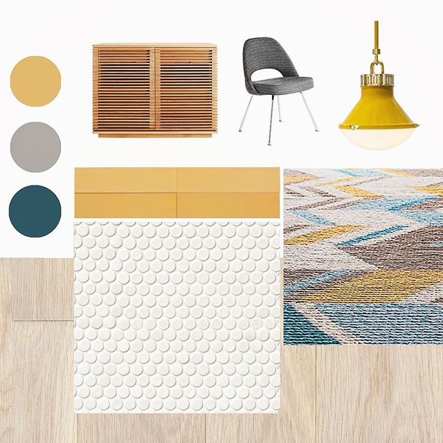 playing around with a brand inspired design board for a new office build-out▫️🔸▫️ pendant: lundy hang by @urbanelectricco / @cletile cement encaustic in curry / saarinen exec. side chair + line file credenza + palani kilim rug available at @designwithinreach