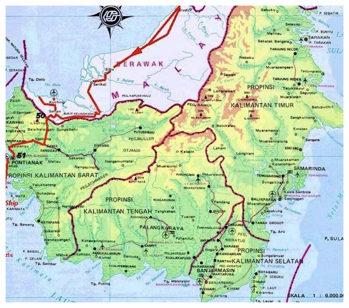 Map of Central Borneo (Kalimantan Tengah)