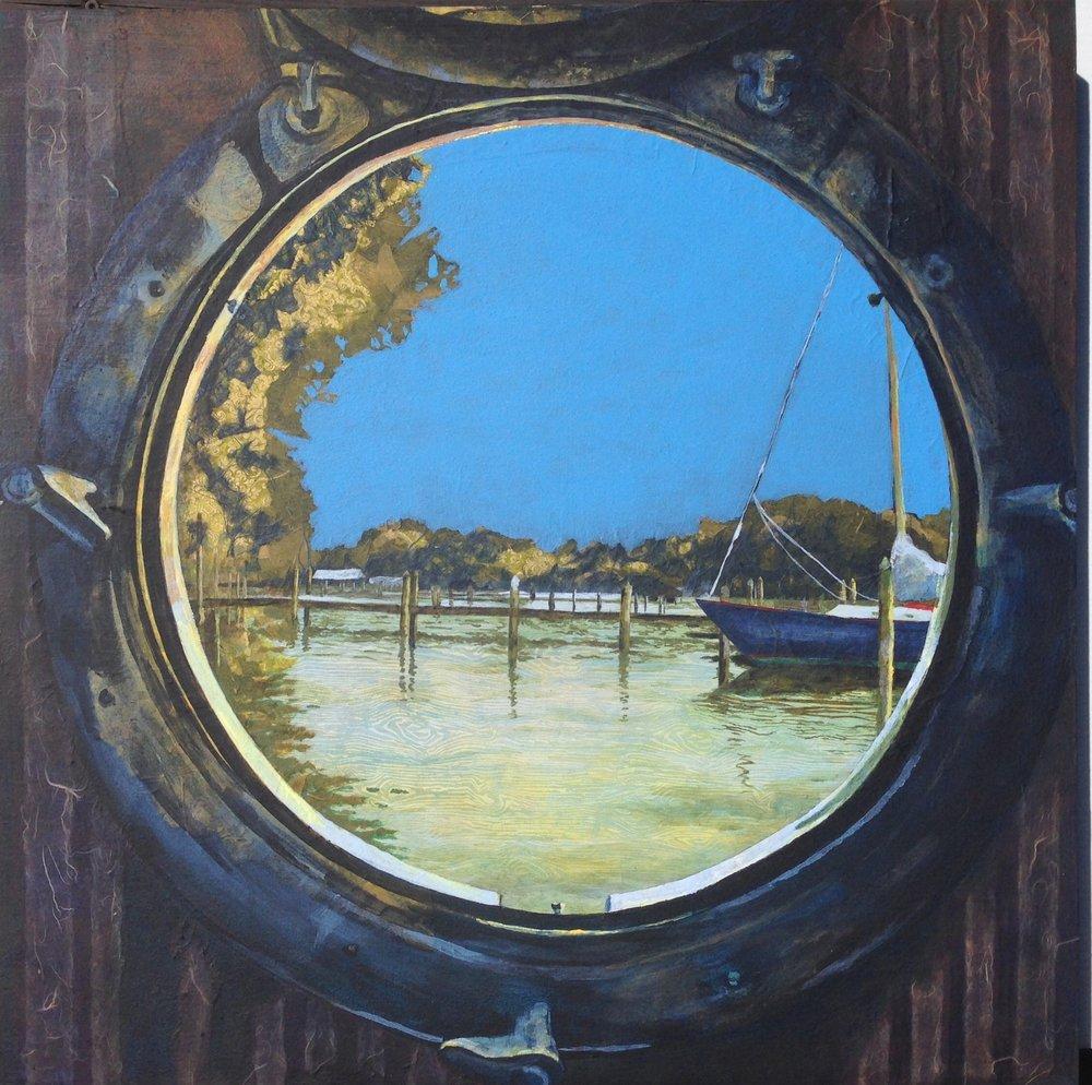 """(c)Denise Mumm 2018  Porthole View: Sassafras River, 24""""x24""""x2 1/2"""", acrylic paint & collage on wood panel"""
